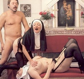 Two hairy seventies nuns stuffed in all their…