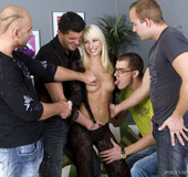 Blonde girl fucking four pussy thirsty guys in big…