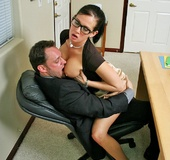 Hot office chick with big boobs gets anal pounded…