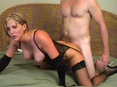 Tattoed busty blonde milf gets both her holes plowed properly.