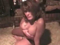 Two lesbian milf bimbos in tight lingerie licking pussies and enjoying two headed dildo.
