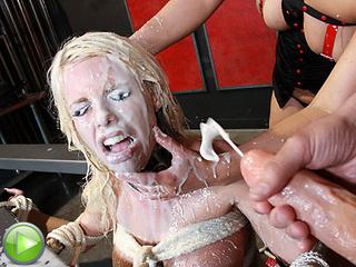 blonde slut leaking cum