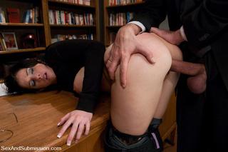 captured blindfolded busty brunette