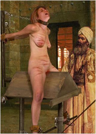 men tortures western slave