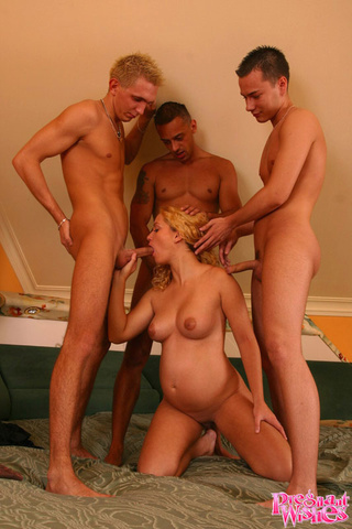 hot pregnant blonde triple-teamed